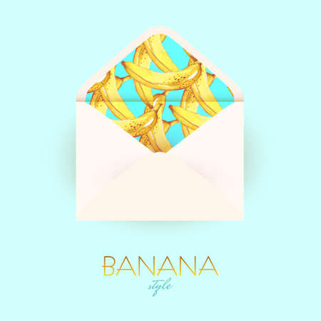 Open Envelope With A Design Of Watercolor Bananas For Invitation ...
