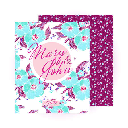 sides: Wedding invitation. Flayers and leaflets. The two sides - the two designs. The pattern of flowers painted by hand. In turquoise , burgundy and pink colors. Beautiful and refreshing, stylish design.