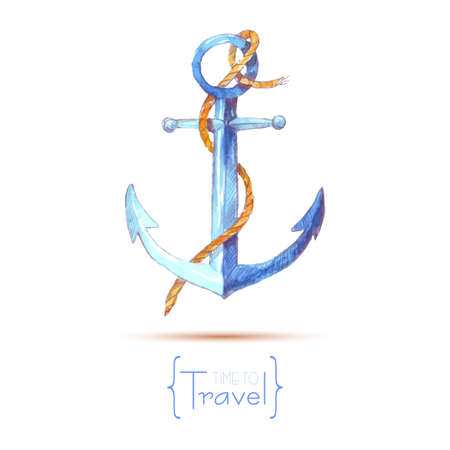 Watercolor anchor rope. Time to travel. Hand painted watercolor anchor.