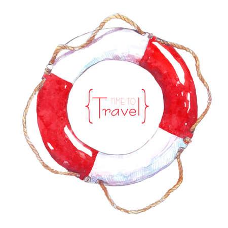 Peinte avec de la corde aquarelle bouée de sauvetage. Le temps de voyager Banque d'images - 40289716