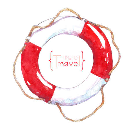 Painted with watercolor lifeline rope. Time to travel Illustration