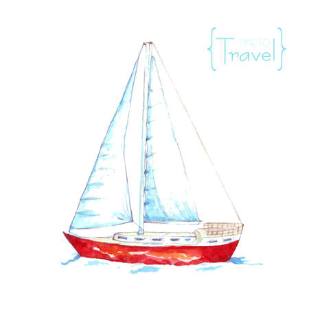 Watercolor sail with red beads. Watercolor yacht floating on the waves. Time to travel