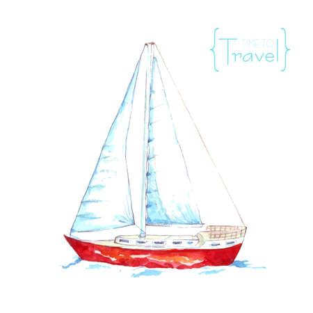 barche: Vela Acquerello con perline rosse. Acquerello barca galleggiante sulle onde. Time to travel