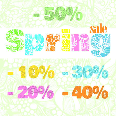 clothing stores: Set of spring discounts. Figures discounts in bright spring colors with floral pattern. For clothing stores, decor, jewelry.