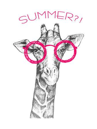 """기린 유행을 좇는 사람의 머리. 분홍색 둥근 안경에 기린입니다. 기린의 손으로 그린 스케치. 전면에서 기린입니다. 단어 """"여름?!"""". 레트로"""