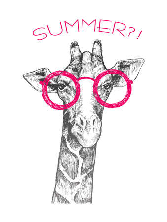 The head of a giraffe hipster. Giraffe in pink round glasses. Hand-drawn sketch of a giraffe. Giraffe from the front. The word summer ?!. Retro Fashion Illustration