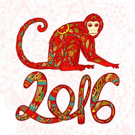 中国の旧正月。猿の年。落書き飾りと数字記号 2016年美しい手の描かれた猿。火。はがき, 価格, お祝いの言葉。明るい色  イラスト・ベクター素材