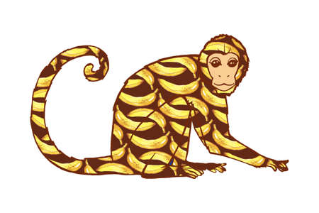 curly tail: Beautiful hand drawn monkey. Banana pattern. Monkey with curly tail. Bananas are painted in watercolor.