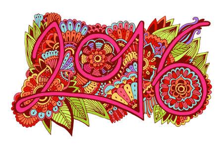 中国の旧正月。美しい手描き落書き飾りはがき, 価格, お祝いの言葉と記号 2016年の数字します。明るい色
