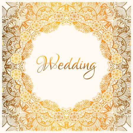 碑文の結婚式、光のパターンの黄金の装飾でエレガントな花装飾背景がカバー、パッキング、ベクトル イラスト、グリーティング カード、結婚式招