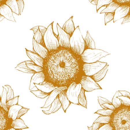 ひまわりの手の描かれたパターン。ハートとバラの花ヒマワリ。パッケージ、広告、およびヒマワリからの石油製品のパターン。