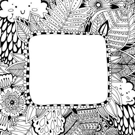 手描き花のフレーム - 着色します。子供、大人、碑文をフレームのぬりえ。カバー、メモ帳、表紙ページの元のデザイン