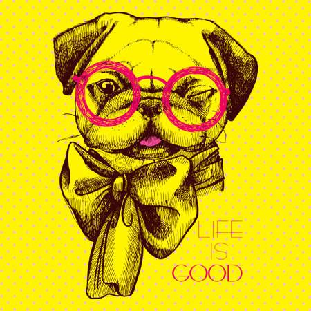 創造的なデザインのパグ犬 - メガネで知的と首に弓。頭パグ手描きの碑文の人生は良いです。