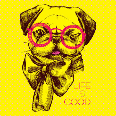 creative design pug dog - an intellectual with glasses and a bow at the neck. Head pug hand painted inscription life is good. Иллюстрация