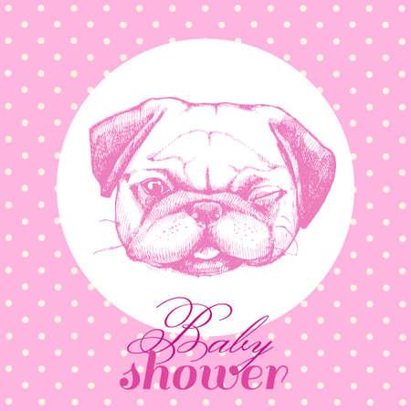 誕生日の新生児女の子のイラスト。赤ちゃんはシャワー。ピンクのかわいいパグ。カード、カード、ポスター、招待状。