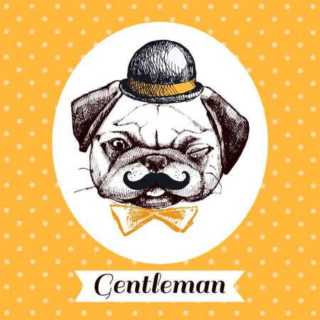 創造的なデザインのパグ犬 - ヒップ、蝶ネクタイ、帽子口ひげと知的。ヘッドは、手描きの碑文の知的パグします。