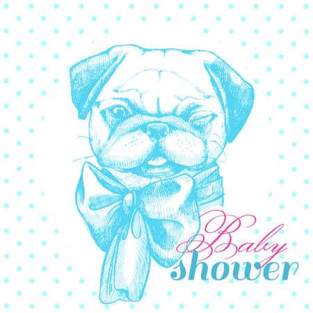 誕生日の新生児男の子のイラスト。赤ちゃんはシャワー。ブルーのかわいいパグ。カード、カード、ポスター、招待状。  イラスト・ベクター素材