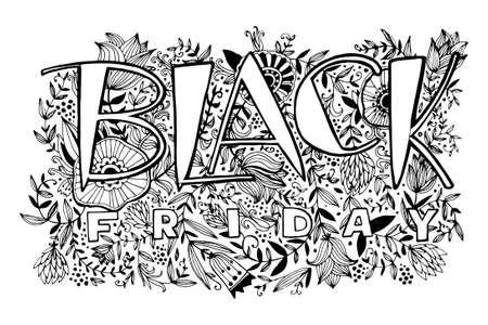 手描きのレタリング黒金曜日。手のバック グラウンドの碑文は、花、小枝および葉を描画します。カード、招待状、ポスターのオリジナル デザイン  イラスト・ベクター素材