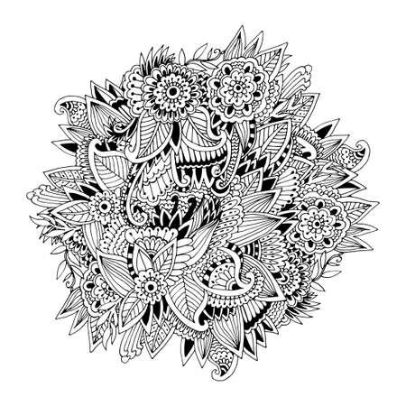 大人 - 花の本格的なカーペットのデザインは、本ページを着色ユニークなサークル、人のような芸術の創造を行、リラックスと瞑想、ベクトル イラ
