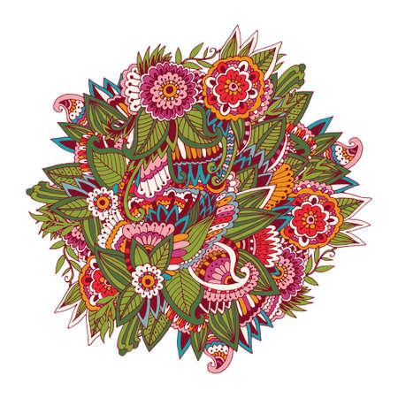 手の描かれた明るく美しい花サークル パターン。要素の落書き、インド パターンとパターン。明るい抽象的な背景。
