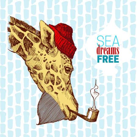 キリン - ひげとパイプのある帽子では船員たちの創造的なデザイン。キリンの頭手塗られた碑文の海、夢、自由 - 彼のパイプの煙。  イラスト・ベクター素材