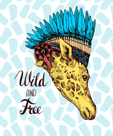 animal head giraffe: Creative design of a giraffe on an Indian hat with feathers. The head of a giraffe hand painted inscription Wild and Free - lettering. Illustration