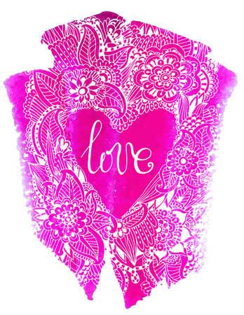 美しい手描きの幾何学模様の心。ハートの形の手描きのパターン。手描き愛という言葉
