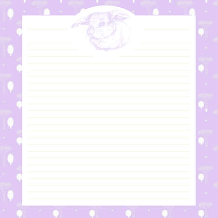 diary page: Page in a notebook with a hand-drawn animals bunny rabbit. Page in a diary daily for girls, creative magazine art book. Decorative page for records. Page in a diary for girls