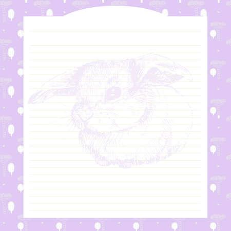 手描きの動物のウサギとノートブックのページ。女の子、クリエイティブ誌画集の毎日の日記のページ。レコードのための装飾的なページ。女の子