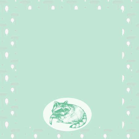 ペットのアライグマの手描きのノート用カバー。女の子のための創造的な雑誌画集日記用カバー。女の子のためのメモ帳。綺麗で素敵なカバー。  イラスト・ベクター素材