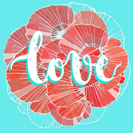 美しい手書きの銘刻文字、日母。大好きです。ポピーの花びらの背景。お祝い, カード, ポスター  イラスト・ベクター素材