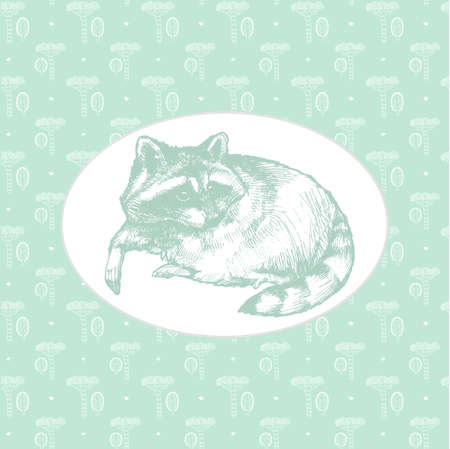 ペットのアライグマの手描きのノート用カバー。女の子のための創造的な雑誌画集日記用カバー。女の子のためのメモ帳。綺麗で素敵なカバー。 写真素材