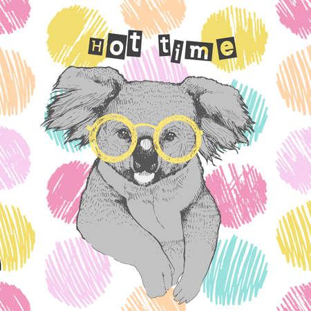 コアラを手動で描画します。明るいコアラ メガネ - ヒップスター。熱い時間。夏の衣服、靴、t シャツ、ラグランに印刷します。