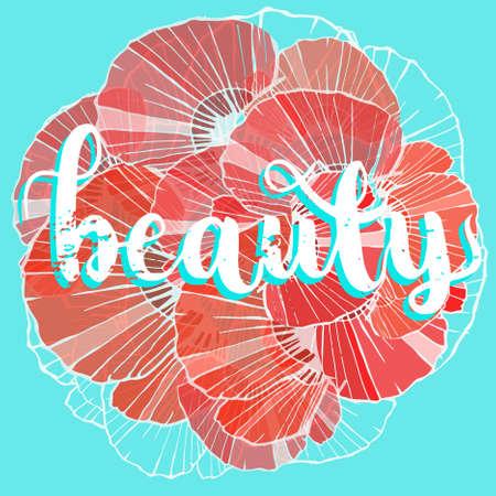 美しい手書きの銘刻文字、日母。美しさ。ポピーの花びらの背景。お祝い, カード, ポスター