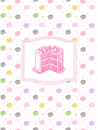 料理の本のための美しいデザイン。区切り記号またはペーストのレシピ本。料理のページです。甘い色のケーキと  イラスト・ベクター素材