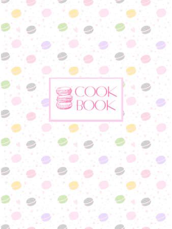 料理の本のための美しいデザイン。区切り記号またはペーストのレシピ本。料理のページです。繊細な色のマカロンがいくつか。レシピ表紙、カー  イラスト・ベクター素材