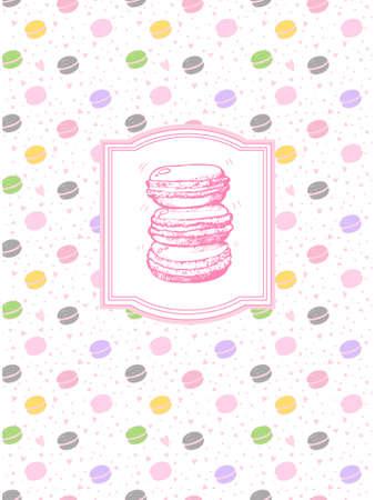料理の本のための美しいデザイン。区切り記号またはペーストのレシピ本。料理のページです。繊細な色でいくつかのマカロンと  イラスト・ベクター素材