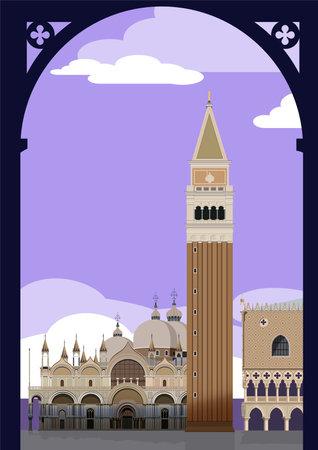 Venice. San Marco Square. vector.