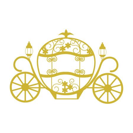 Coach pour Cendrillon. Modèle pour l'album, carte postale, applique, élément rétro pour le mariage. Illustration vectorielle.
