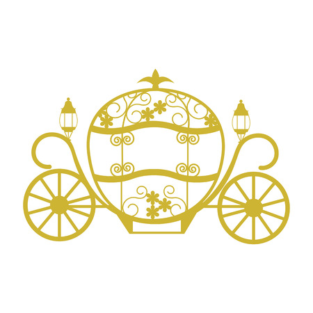 Coach for Cinderella. Template for the album, postcard, applique, retro element for the wedding. Vector illustration.