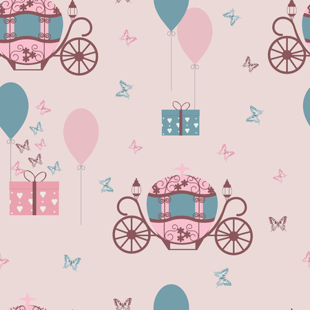 Seamless pattern with a carriage for Cinderella, balloons and butterflies on a pink background. For decorating textiles, packaging and wallpaper. Vector illustration. Stock Illustratie