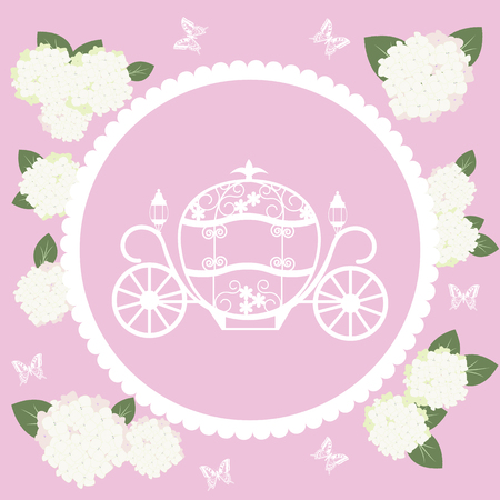Greeting card for anniversaries, weddings,birtday, with a Cinderella carriage, flowers of hydrangeas and butterflies on a pink background. Vector illustration.