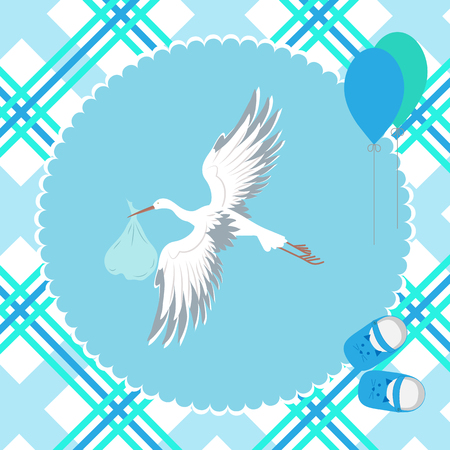 Stork with a child flying in the sky, air balls and children's sandals. To decorate a postcard, album. Vector illustration.