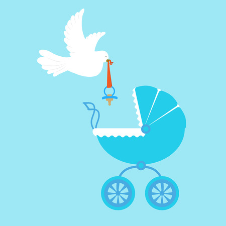 Baby carriage for a boy with a floating white dove. To decorate the postcard, album. Vector illustration.