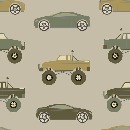 Seamless pattern with cars in pastel colors. For decoration of textiles, packaging, wallpaper. Vector illustration.  イラスト・ベクター素材