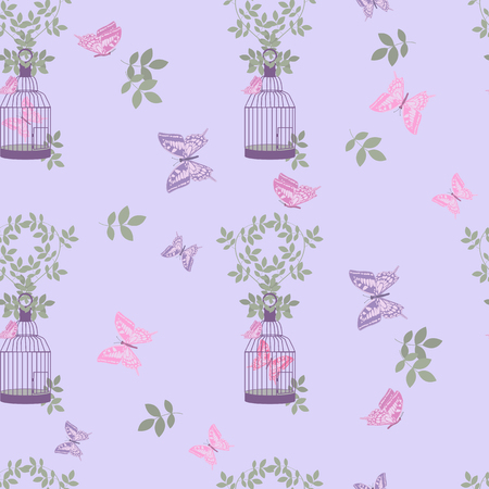 Seamless vectorial, vintage, romantic illustration with decorative bird cage and butterflies on a lilac background. Illustration