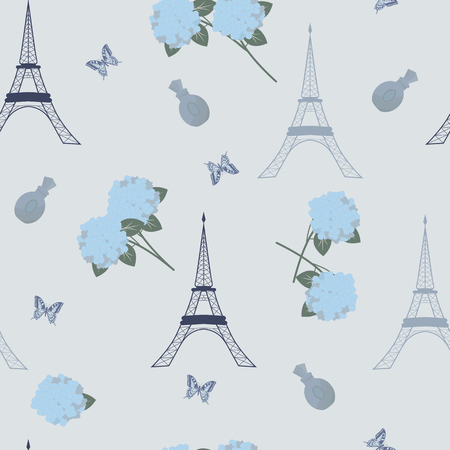Seamless vectorial, vintage, romantic illustration with flowers of hydrangea, butterflies and Eiffel tower on a blue background. For decoration of textiles, packaging, wallpaper. Illustration