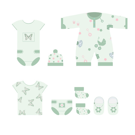 Fashionable clothes for newborns on a white isolated background. Template for album, applique, poster. store design. Vector illustration. Banque d'images - 97553532