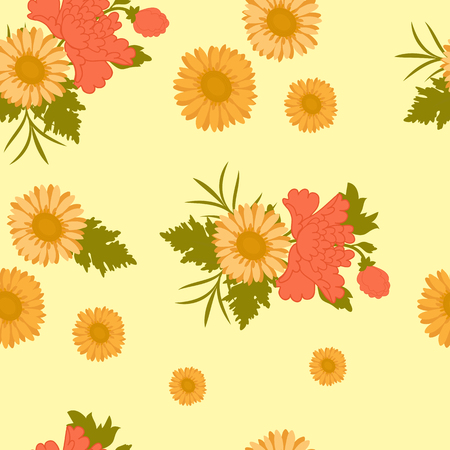 Seamless vector illustration with gerbera and peony flowers on a yellow background. For decorating textiles, packaging and wallpaper.
