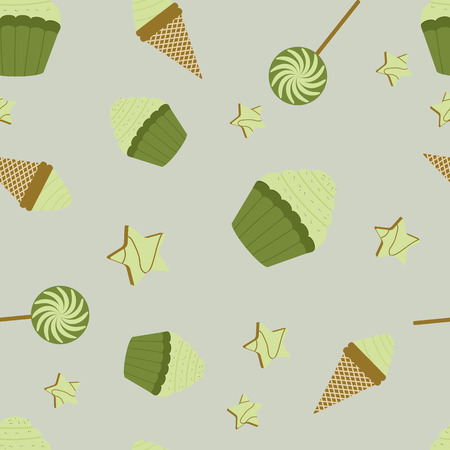 Seamless pattern with cakes and ice cream on a green background. For decorating textiles and packaging. Vector illustration.